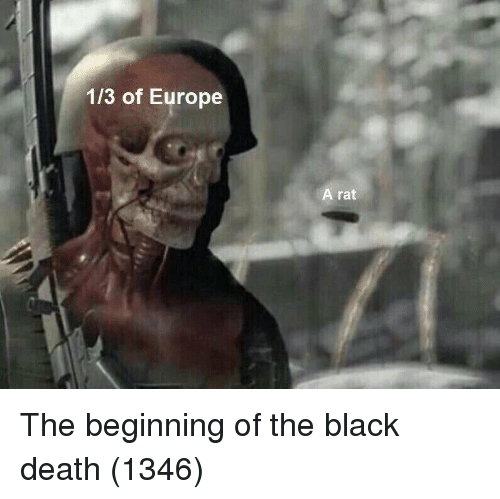 Black, Death, and Europe: 1/3 of Europe  A rat The beginning of the black death (1346)