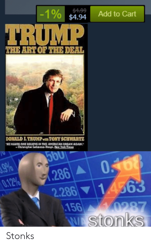 Trump, Dank Memes, and Art: -1% $4.94  $4.99  Add to Cart  TRUMP  THE ART OF THE DEAL  DONALD J.TRUMPwith TONYSCHWARTZ  1MAKES ONE SELIcVEIN THE AMNCAN DRIAM AGAIN  Crghere -H T  9%  0.12%  .286A  2.286 14563  156  286 0468  0287  WA Stonks Stonks