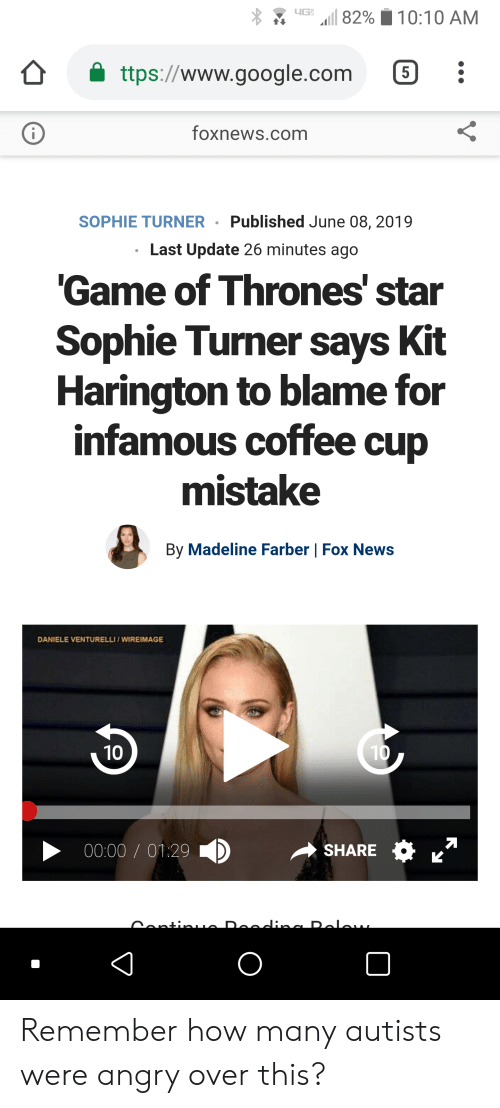 Autists: 1 82%  10:10 AM  ttps://www.google.com  5  foxnews.com  i  Published June 08, 2019  SOPHIE TURNER  Last Update 26 minutes ago  'Game of Thrones' star  Sophie Turner says Kit  Harington to blame for  infamous coffee cup  mistake  By Madeline Farber | Fox News  DANIELE VENTURELLI/WIREIMAGE  10  10  00:00 O1.29  SHARE  eodinc Dolau  ContinLO Remember how many autists were angry over this?