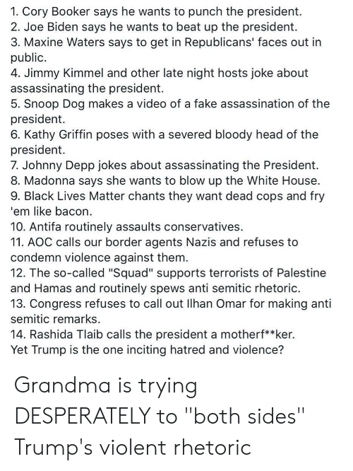 """Assassination, Black Lives Matter, and Fake: 1. Cory Booker says he wants to punch the president.  2. Joe Biden says he wants to beat up the president.  3. Maxine Waters says to get in Republicans' faces out in  public  4. Jimmy Kimmel and other late night hosts joke about  assassinating the president.  5. Snoop Dog makes a video of a fake assassination of the  president  6. Kathy Griffin poses with a severed bloody head of the  president  7. Johnny Depp jokes about assassinating the President.  8. Madonna says she wants to blow up the White House  9. Black Lives Matter chants they want dead cops and fry  'em like bacon  10. Antifa routinely assaults conservatives  11. AOC calls our border agents Nazis and refuses to  condemn violence against them  12. The so-called """"Squad"""" supports terrorists of Palestine  and Hamas and routinely spews anti semitic rhetoric.  13. Congress refuses to call out Ilhan Omar for making anti  semitic remarks  14. Rashida Tlaib calls the president a motherf**ker.  Yet Trump is the one inciting hatred and violence? Grandma is trying DESPERATELY to """"both sides"""" Trump's violent rhetoric"""
