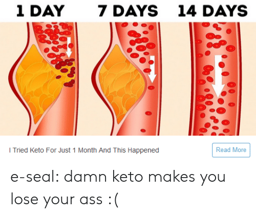 Ass, Run, and Tumblr: 1 DAY  7 DAYS  14 DAYS  Read More  I Tried Keto For Just 1 Month And This Happened e-seal:  damn keto makes you lose your ass :(
