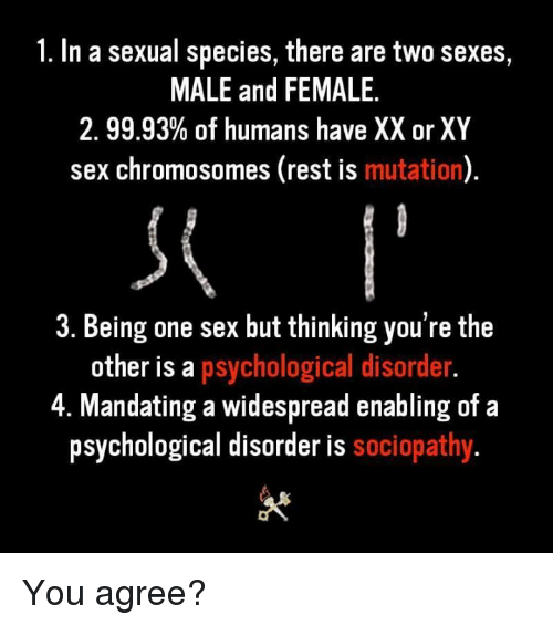 Sex, Rest, and Species: 1. In a sexual species, there are two sexes,  MALE and FEMALE.  2.9993% of humans have XX or XY  sex chromosomes (rest is mutation)  3. Being one sex but thinking you're the  other is a psychological disorder  4. Mandating a widespread enabling of a  psychological disorder is sociopathy You agree?