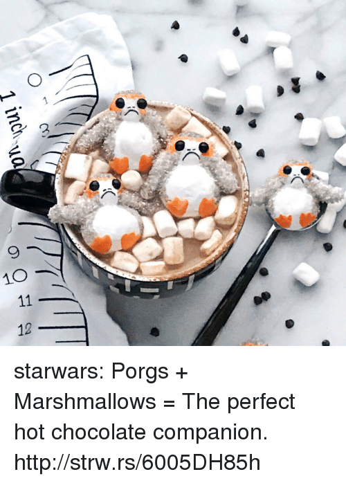 Tumblr, Blog, and Chocolate: 1 inch  90 11 12 starwars:  Porgs + Marshmallows = The perfect hot chocolate companion. http://strw.rs/6005DH85h