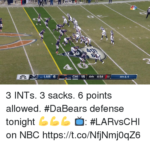 Memes, 🤖, and Nbc: 1 LAR 6  84 CHI 15 4th 4:34 :02  4th & 4 3 INTs. 3 sacks. 6 points allowed.  #DaBears defense tonight 💪💪💪  📺: #LARvsCHI on NBC https://t.co/NfjNmj0qZ6