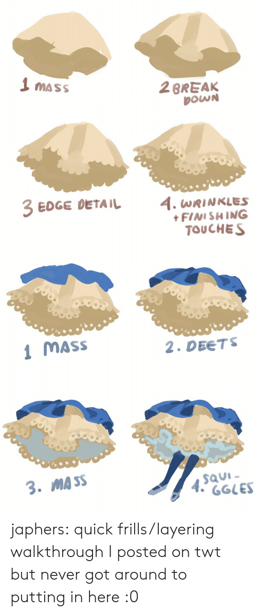 walkthrough: 1 mass  2BREAK  DOWN  EDGE DETAIL 4. WRINKLES  FINISHING  TOUCHES   MASS  2. DEETS  MA SS japhers:  quick frills/layering walkthrough I posted on twt but never got around to putting in here :0
