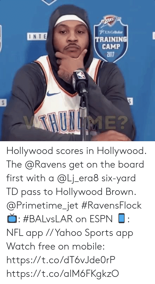 Scores: 1 RB, 1 TE, 3  WR  35 EDWARDS RB 89 ANDREWS TE 15 BROWN WR  11 ROBERTS WR 83 SNEAD IV WR  ESFRMNF  3rd & 4  1ST 7:51 05  8-2  6-4 Hollywood scores in Hollywood.   The @Ravens get on the board first with a @Lj_era8 six-yard TD pass to Hollywood Brown. @Primetime_jet #RavensFlock  📺: #BALvsLAR on ESPN 📱: NFL app // Yahoo Sports app Watch free on mobile: https://t.co/dT6vJde0rP https://t.co/alM6FKgkzO