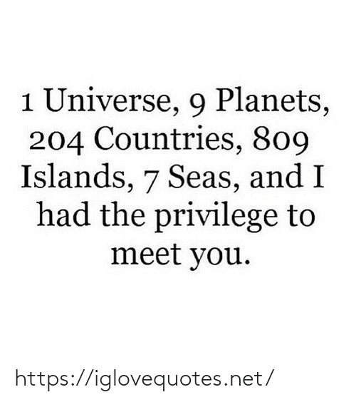 Countries: 1 Universe, 9 Planets,  204 Countries, 809  Islands, 7 Seas, and I  had the privilege to  meet you. https://iglovequotes.net/