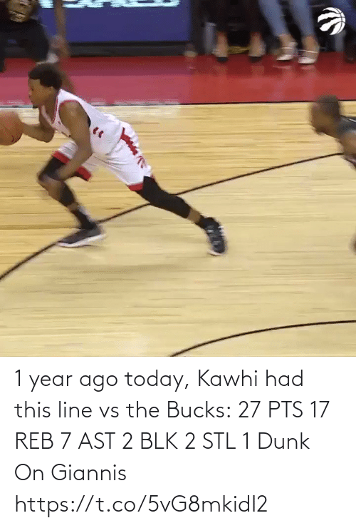 kawhi: 1 year ago today, Kawhi had this line vs the Bucks:  27 PTS 17 REB 7 AST 2 BLK 2 STL 1 Dunk On Giannis   https://t.co/5vG8mkidI2