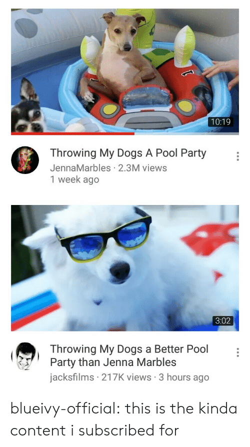 pool-party: 10:19  Throwing My Dogs A Pool Party  JennaMarbles 2.3M views  1 week ago   3:02  Throwing My Dogs a Better Pool  Party than Jenna Marbles  jacksfilms 217K views 3 hours ago blueivy-official: this is the kinda content i subscribed for