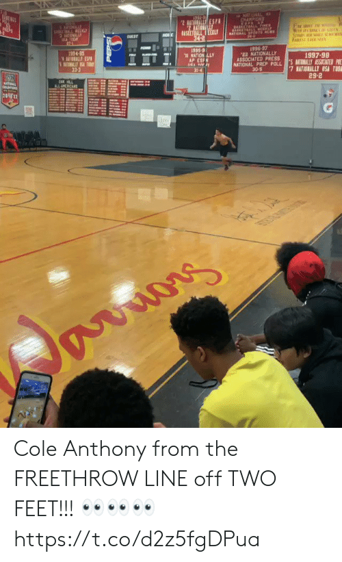 prep: 10  1996-97  NATIONALLY  934-95  1997-98  ASSOCIATED PR ESSLY ASSICATESP  AP ESFN  NATIONAL PREP POLL  30-5  33-3  29-2 Cole Anthony from the FREETHROW LINE off TWO FEET!!! 👀👀👀 https://t.co/d2z5fgDPua