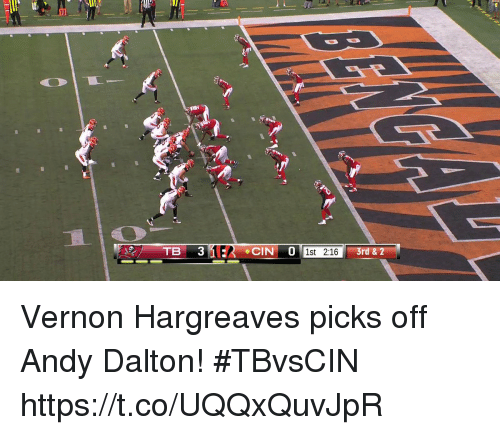 Andy Dalton: 10  1st 2:16  3rd & 2 Vernon Hargreaves picks off Andy Dalton! #TBvsCIN https://t.co/UQQxQuvJpR