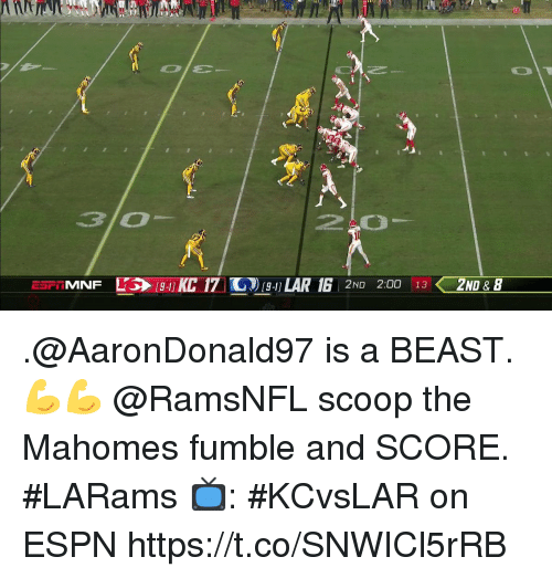 Espn, Memes, and 🤖: 10  20  2ND 2:00 13 ZND & B .@AaronDonald97 is a BEAST. 💪💪  @RamsNFL scoop the Mahomes fumble and SCORE. #LARams  📺: #KCvsLAR on ESPN https://t.co/SNWICl5rRB