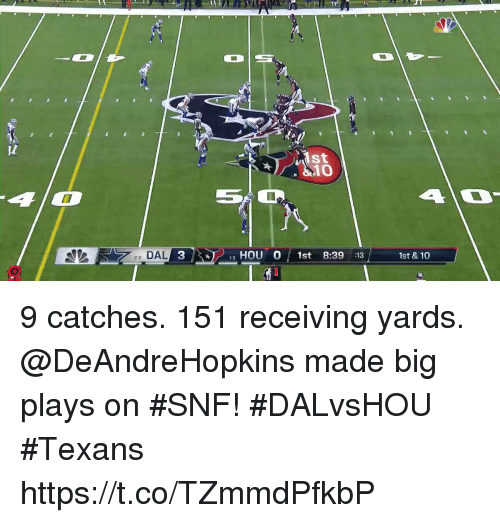 snf: 10  22 DAL 3  HOU O 1st 8:39 :13  1st &10 9 catches. 151 receiving yards.  @DeAndreHopkins made big plays on #SNF! #DALvsHOU #Texans https://t.co/TZmmdPfkbP
