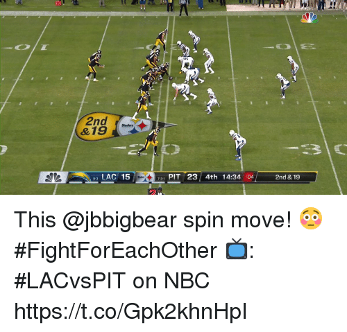 Memes, Steelers, and 🤖: 10  2nd  &19 Steelers  LAC 15P  731 PIT 23 4th 14:34 :04  2nd & 19 This @jbbigbear spin move! 😳 #FightForEachOther  📺: #LACvsPIT on NBC https://t.co/Gpk2khnHpI