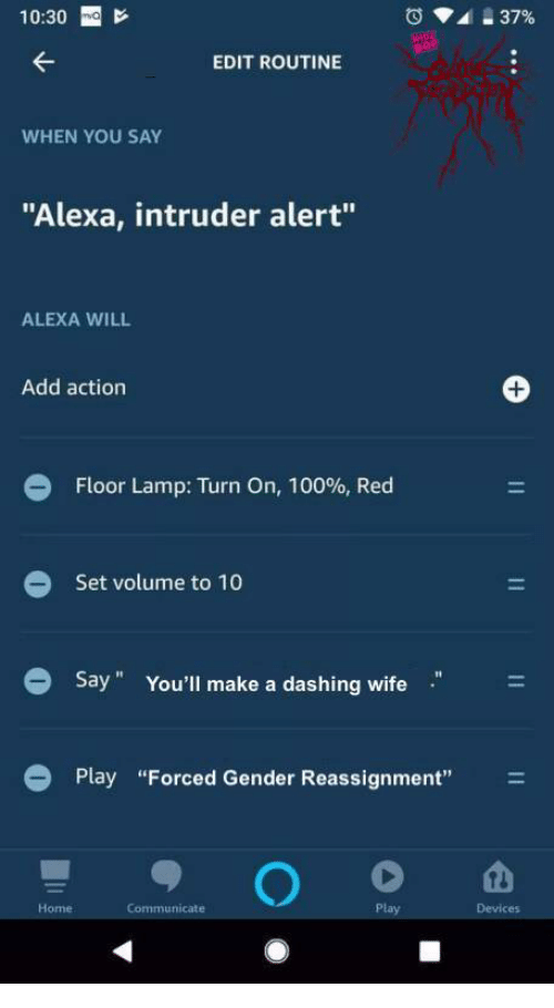 """dashing: 10:30 E  EDIT ROUTINE  WHEN YOU SAY  """"Alexa, intruder alert""""  ALEXA WILL  Add action  Floor Lamp: Turn On, 100%, Red  Set volume to 10  Say"""" You'll make a dashing wife  Play """"Forced Gender Reassignment""""  Home  Communicate  Devices"""