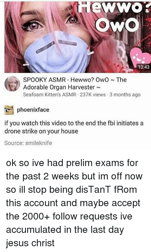 Drone, Fbi, and Jesus: 10:43  SPOOKY ASMR Hewwo? OwOThe  Adorable Organ Harvester  Seafoam Kitten's ASMR 237K views 3 months ago  phoenixface  if you watch this video to the end the fbi initiates a  drone strike on your house  Source: smileknife ok so ive had prelim exams for the past 2 weeks but im off now so ill stop being disTanT fRom this account and maybe accept the 2000+ follow requests ive accumulated in the last day jesus christ