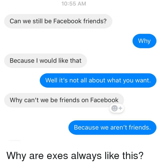 Exes: 10:55 AM  Can we still be Facebook friends?  Why  Because I would like that  Well it's not all about what you want.  Why can't we be friends on Facebook  Because we aren't friends. Why are exes always like this?