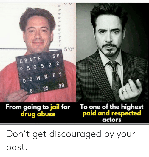 Going To Jail: 10  7  5'0  S P  CSATF  P 5052 2  D O W N E Y  99  25  8  From going to jail for  drug abuse  To one of the highest  paid and respected  actors Don't get discouraged by your past.