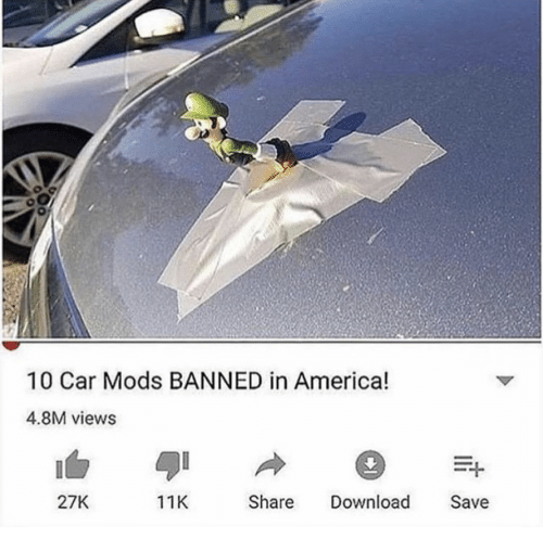 America, Car, and Download: 10 Car Mods BANNED in America!  4.8M views  27K  11K  Share Download Save