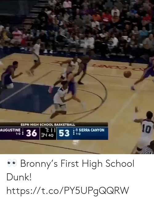 sierra: 10  ESPN HIGH SCHOOL BASKETBALL  : II  36 34 4053  8 SIERRA CANYON  AUGUSTINE  1-0  1-0 👀 Bronny's First High School Dunk!  https://t.co/PY5UPgQQRW