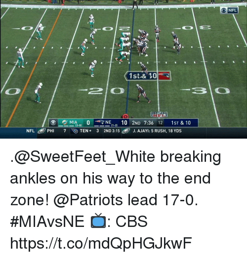 Memes, Nfl, and Patriotic: 10  O NFL  1st-& 10  2O  MIA3-01 O-NE(1-2) 10 2ND 7:36 12 1ST & 10  7 ee  NFL® PHI  TEN 3 2ND 3:15  d, J AJAY 5 RUSH, 18 YDS .@SweetFeet_White breaking ankles on his way to the end zone!  @Patriots lead 17-0. #MIAvsNE  📺: CBS https://t.co/mdQpHGJkwF