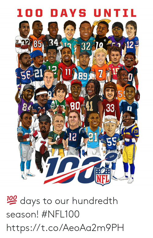 Memes, Nfl, and 🤖: 100 DAYS UNTIL  85 34  32  12  12  32  80%41  , 33, , a  20  29  NFL 💯 days to our hundredth season! #NFL100 https://t.co/AeoAa2m9PH
