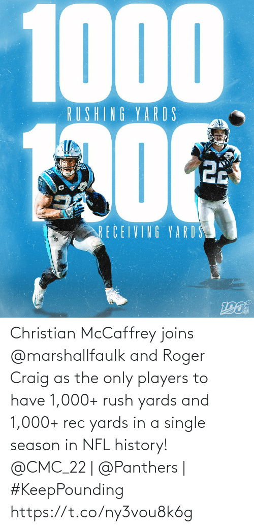 Rush: 1000  RUSHING YARDS  22  RECEIVING YARD S Christian McCaffrey joins @marshallfaulk and Roger Craig as the only players to have 1,000+ rush yards and 1,000+ rec yards in a single season in NFL history!  @CMC_22 | @Panthers | #KeepPounding https://t.co/ny3vou8k6g