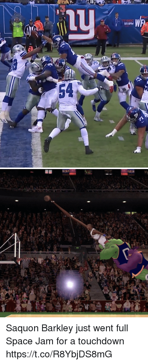 Football, Nfl, and Sports: 1019FM  12  54 Saquon Barkley just went full Space Jam for a touchdown https://t.co/R8YbjDS8mG