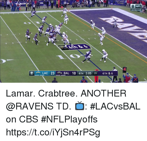 Memes, Cbs, and Ravens: 1091 fountation  AFC WILD CARD  LAC 23BAL 10 4TH 2:05 20 4TH & 6 Lamar. Crabtree. ANOTHER @RAVENS TD.  📺: #LACvsBAL on CBS #NFLPlayoffs https://t.co/iYjSn4rPSg