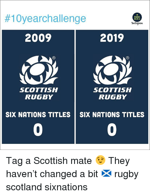 Scotland, Rugby, and Scottish:  #10yearchallenge  RUGBY  HEMES  Instagran  2009  2019  SCOTTISH  RUGBY  SCOTTISH  RUGBY  SIX NATIONS TITLES SIX NATIONS TITLES  0  0 Tag a Scottish mate 😉 They haven't changed a bit 🏴󠁧󠁢󠁳󠁣󠁴󠁿 rugby scotland sixnations