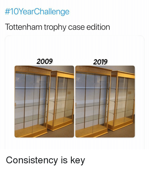 Soccer, Sports, and Consistency:  #10YearChallenge  Tottenham trophy case edition  2009  2019 Consistency is key