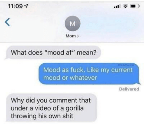 """Af, Mood, and Shit: 11:09  Mom  What does """"mood af"""" mean?  Mood as fuck. Like my current  mood or whatever  Delivered  Why did you comment that  under a video of a gorilla  throwing his own shit  M"""