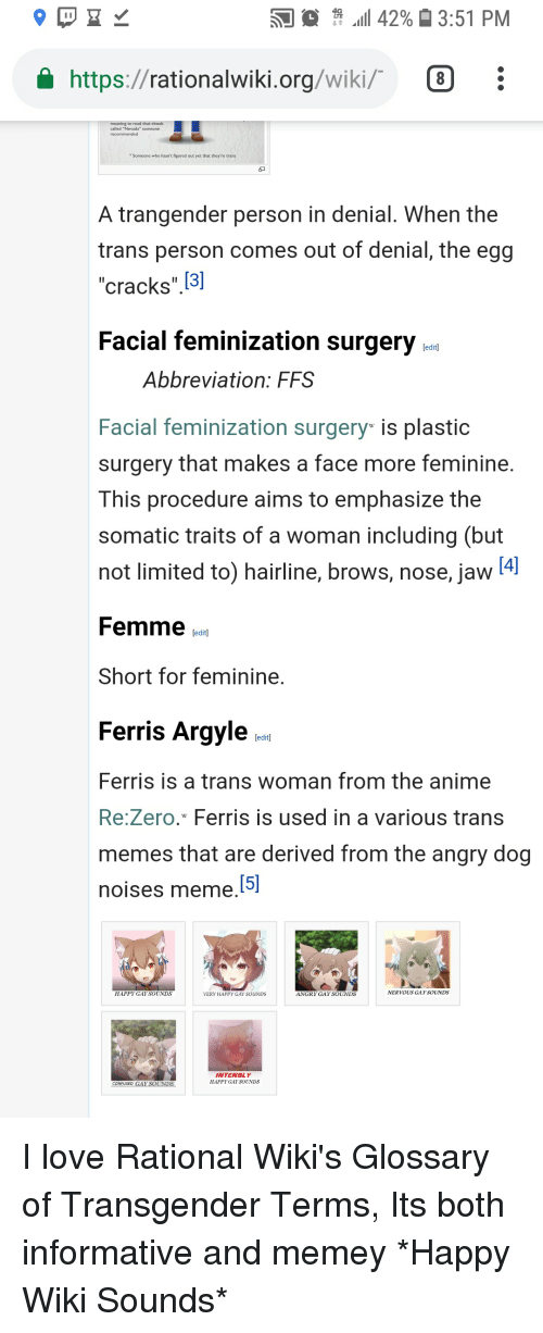 """Anime, Hairline, and Love: .11 42% 3:51 PM  https://rationalwiki.org/wiki/ 8  to read that  called """"Nevada"""" someone  Someone who hasn't figured out yet that they're trans  A trangender person in denial. When the  trans person comes out of denial, the egg  """"cracks"""" []  Facial feminization surgery  Abbreviation: FFS  Facial feminization surgery is plastic  surgery that makes a face more feminine.  This procedure aims to emphasize the  somatic traits of a woman including (but  not limited to) hairline, brows, nose, javw  Femme fol  Short for feminine.  Ferris Argyle  Ferris is a trans woman from the anime  Re:Zero. Ferris is used in a various trans  memes that are derived from the angry dog  oises meme  HAPPYGAY SOUNDS  VERY HAPPY GAY SOUNDS  ANGRY GAY SOUNDS  NERVOUS GAYSOUNDS  INTENSLY  HAPPY GAF SOUNDS  CON USED"""