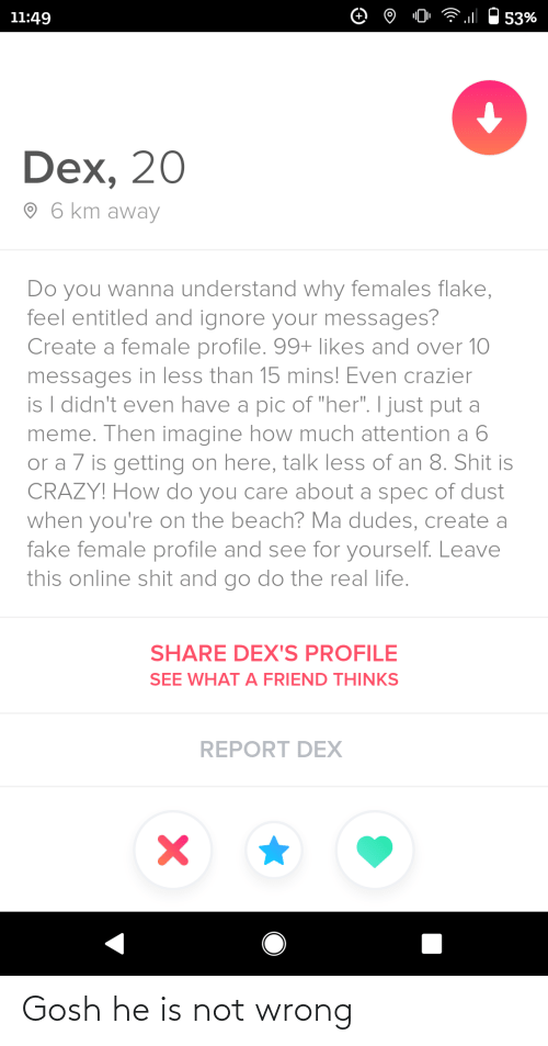 "Messages: 11:49  53%  Dex, 20  O 6 km away  Do you wanna understand why females flake,  feel entitled and ignore your messages?  Create a female profile. 99+ likes and over 10  messages in less than 15 mins! Even crazier  is I didn't even have a pic of ""her"". I just put a  meme. Then imagine how much attention a 6  or a 7 is getting on here, talk less of an 8. Shit is  CRAZY! How do you care about a spec of dust  when you're on the beach? Ma dudes, create a  fake female profile and see for yourself. Leave  this online shit and go do the real life.  SHARE DEX'S PROFILE  SEE WHAT A FRIEND THINKS  REPORT DEX Gosh he is not wrong"