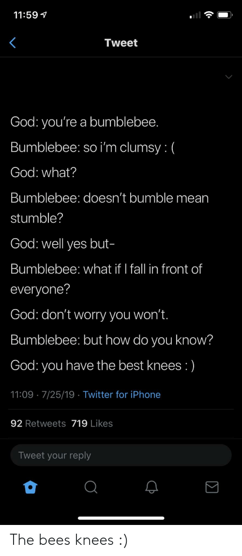 Bumble: 11:59  Tweet  God: you're a bumblebee.  Bumblebee: so i'm clumsy: (  God: what?  Bumblebee: doesn't bumble mean  stumble?  God: well yes but-  Bumblebee: what if I fall in front of  everyone?  God: don't worry you won't.  Bumblebee: but how do you know?  God: you have the best knees :)  11:09 7/25/19 Twitter for iPhone  92 Retweets 719 Likes  Tweet your reply The bees knees :)
