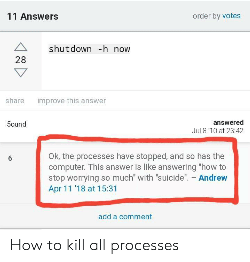 "Shutdown: 11 Answers  order by votes  A shutdown -h now  28  improve this answer  share  answered  Jul 8'10 at 23:42  5ound  OK, the processes have stopped, and so has the  computer. This answer is like answering ""how to  stop worrying so much"" with ""suicide"". Andrew  Apr 11 '18 at 15:31  add a comment How to kill all processes"