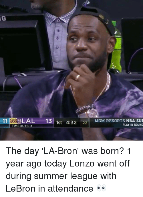 Nba, Summer, and Lebron: 11% LAL 131  4:3222 MGM RESORTS NBA SUN  MGM RESORTS NBA SU  1st  TIMEOUTS: 2  PLAY-IN ROUND The day 'LA-Bron' was born?  1 year ago today Lonzo went off during summer league with LeBron in attendance 👀