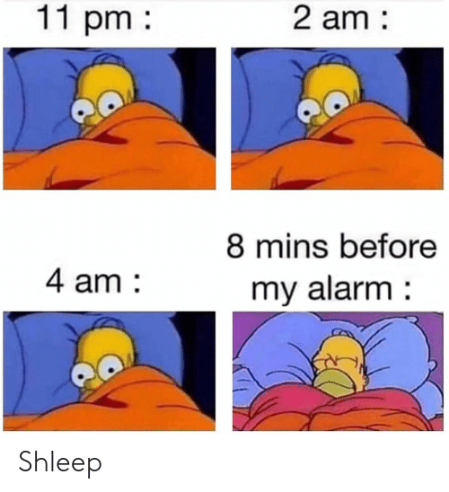 Dank, Alarm, and 🤖: 11 pm  2 am  8 mins before  4 am  my alarm Shleep
