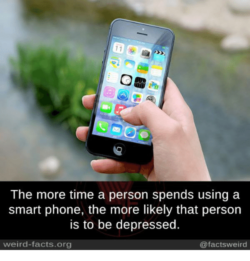 Smart Phoned: 11  The more time a person spends using a  smart phone, the more likely that person  is to be depressed.  weird-facts.org  @facts weird
