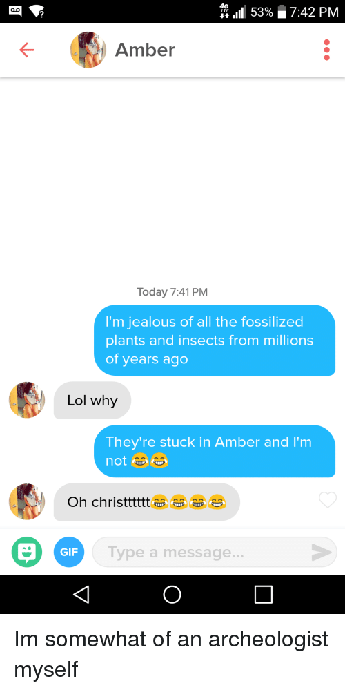Im Jealous: 1111 53%  7:42 PM  Amber  Today 7:41 PM  I'm jealous of all the fossilized  plants and insects from millions  of years ago  Lol why  They're stuck in Amber and I'm  Oh christttt  GIF  Type a message.. Im somewhat of an archeologist myself