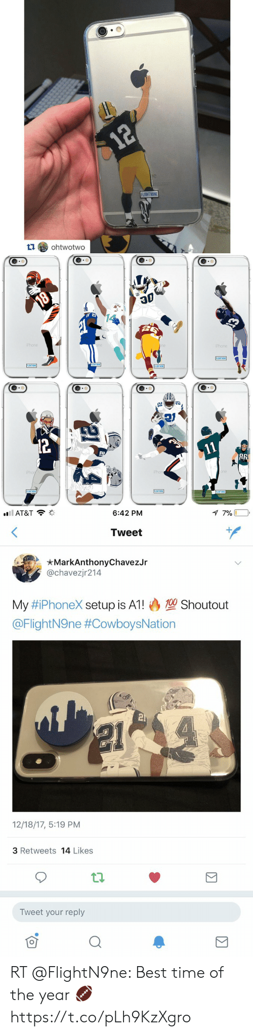 iphon: 12  12  e  FLIGHT NONE  ohtwotwo   18  iPhone  one  one  iPhone  FLIGHT NONE  FLIGHT N9NE  FLIGHT NSNE  FLIGHT NONE  12  11  iPhon  iPhone  one  FLIGHTN9NE  FLIGHTN9NE  FLIGHT N9NE   7 7%  ll AT&T  6:42 PM  Tweet  MarkAnthonyChavezJr  @chavezjr214  100 Shoutout  My #iPhoneX setup is A1!  @FlightN9ne #CowboysNation  21  12/18/17, 5:19 PM  3 Retweets 14 Likes  Tweet your reply RT @FlightN9ne: Best time of the year 🏈 https://t.co/pLh9KzXgro