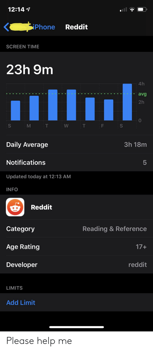 Phone, Reddit, and Help: 12:14 1  Reddit  Phone  SCREEN TIME  23h 9m  4h  illlul  avg  2h  Daily Average  3h 18m  Notifications  Updated today at 12:13 AM  INFO  Reddit  Reading & Reference  Category  Age Rating  17+  Developer  reddit  LIMITS  Add Limit  LO  S4 Please help me