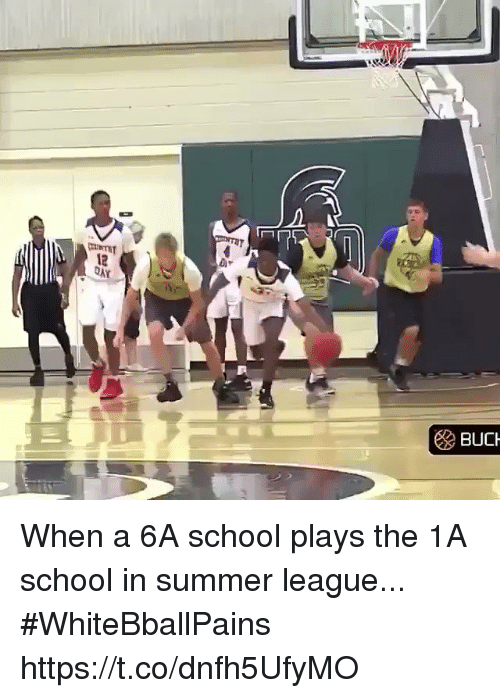 Basketball, School, and White People: 12  BUCH When a 6A school plays the 1A school in summer league... #WhiteBballPains https://t.co/dnfh5UfyMO