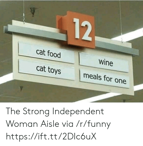 cat food: 12  cat food  wine  cat toys  meals for one The Strong Independent Woman Aisle via /r/funny https://ift.tt/2DIc6uX