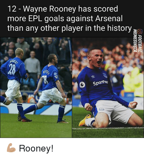 Arsenal, Goals, and Memes: 12 - Wayne Rooney has scored  more EPL goals against Arsenal  than any other player in the history  RIO  Sportees 💪🏽 Rooney!