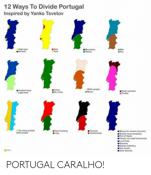 Food, Money, and Rude: 12 Ways To Divide Portugal  Inspired by Yanko Tsvetov  High tech  Poor  Planes  Dry  White pecple  Comfort food  Light food  ● Rude cavemen  Prades  Too maty people  No people  Hard working  ■ Money for worn and wine  Women  have mustache  People nn  oman Catholic  Not racist  Dark skinned  as PORTUGAL CARALHO!