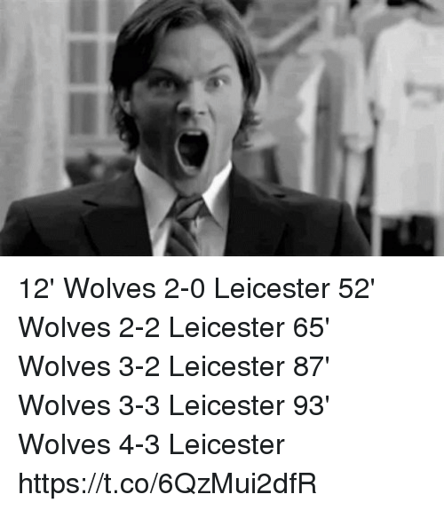 Memes, Wolves, and 🤖: 12' Wolves 2-0 Leicester 52' Wolves 2-2 Leicester 65' Wolves 3-2 Leicester 87' Wolves 3-3 Leicester 93' Wolves 4-3 Leicester https://t.co/6QzMui2dfR