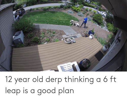 12 Year: 12 year old derp thinking a 6 ft leap is a good plan