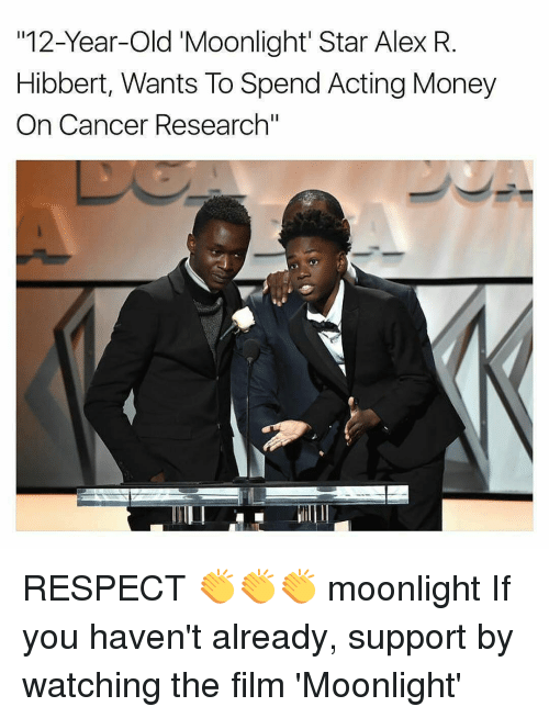 "Memes, Money, and Respect: 12-Year-old Moonlight Star Alex R  Hibbert, Wants To Spend Acting Money  On Cancer Research"" RESPECT 👏👏👏 moonlight If you haven't already, support by watching the film 'Moonlight'"