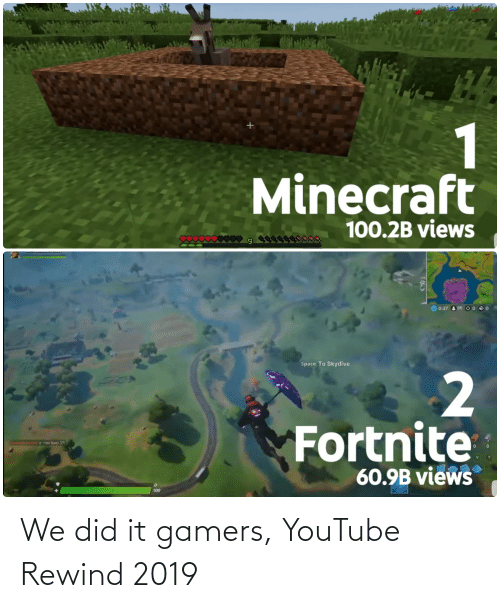 skydive: 124ES  1  Minecraft  100.2B views  WS  15  0  © 0:37  95 O 0  Space To Skydive  Fortnite  Is now level 37  60.9B views  100 We did it gamers, YouTube Rewind 2019